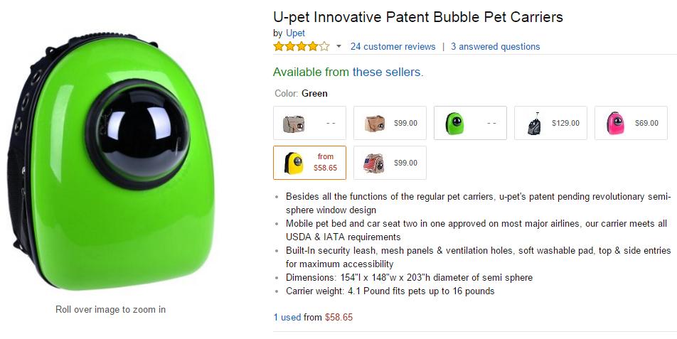U-pet Innovative Patent Bubble Pet Carriers