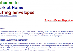 Is Work from Home Stuffing Envelopes a scam?