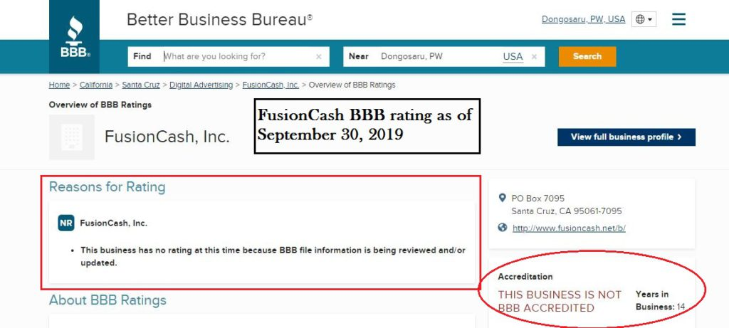 FusionCash BBB rating as of September 2019