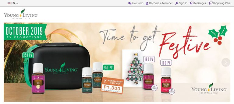 Young living essential oils homepage
